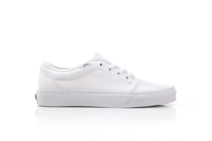 It s that time of year again — time to re-up on a new pair of all-white  sneaks. Vans comes through with a solid option via the 106 Vulcanized model. 8aa6b5643a74