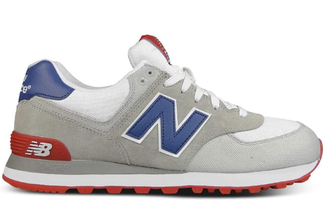new balance shoes red and blue. here we see the 574 from new balance in a red, white, and blue color combo, featuring mixture of suede canvas throughout makeup. shoes red
