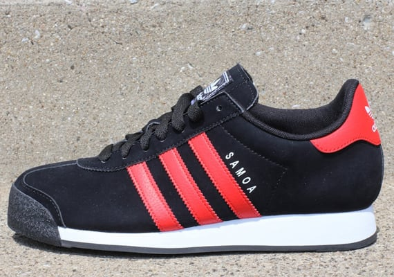 419c5275be432f adidas Originals here releases a new black and red rendition of the classic  Samoa sneaker. Done up in nubuck and leather