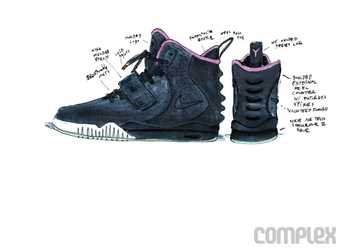 19972098cf69 COMPLEX SAYS  This early design sketch had a Foamposite-style bootie to  protect the foot and hold it in place.