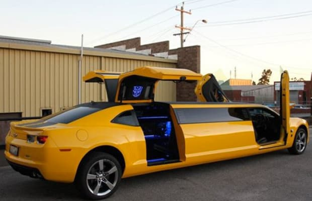 transformers themed bumblebee camaro limo complex. Black Bedroom Furniture Sets. Home Design Ideas