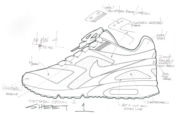 2669f027f9293 Here s a Look at Tinker Hatfield s Original Sketch for the Nike Air Max BW