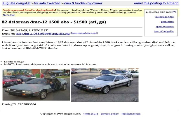 Delorean For Sale Craigslist >> 4 Caddy With Stains The 21 Weirdest Car Ads On Craigslist Complex