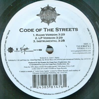 GangStarr Gang Starr - Code of the Streets Lyrics Gang ...