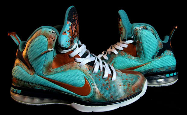 new style fa1d0 3a30d ... nike lebron 9 copper splash custom by district customs Spiderman Nike  Lebron X ...