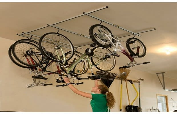 The Saris Cycle Glide Is A Ceiling Storage Unit For Those With Up To 4  Bikes. However, With An Optional Mount For 2 Extra Bikes, Up To 6 Bicycles  Can Hang ...