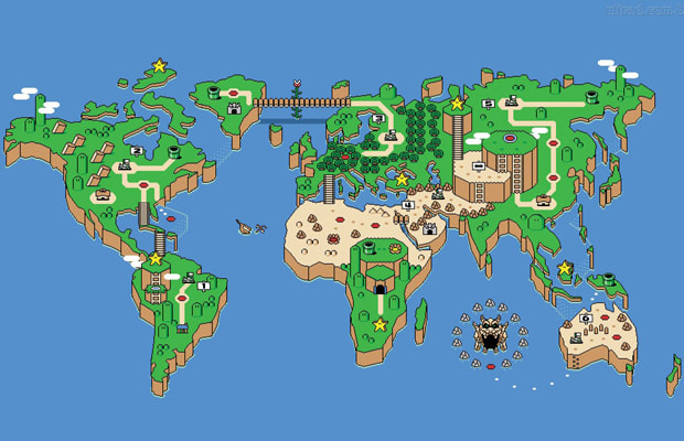 Awesome super mario world map complex weve played super mario long enough to have figured out every level growing up but this mario inspired world map by ian gibson is completely new to us gumiabroncs Choice Image