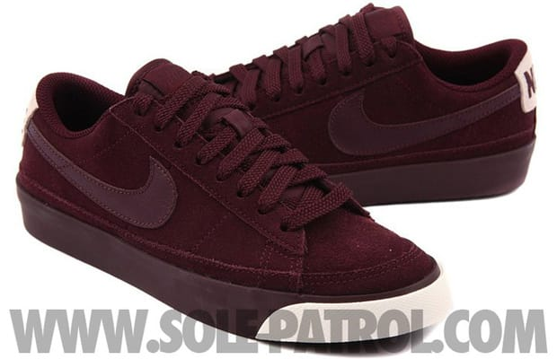 release date e7e58 6c968 Fresh for fall Nike hits us off with a simple all-burgundy colorway of the  ever popular Blazer Low. The Low is draped in burgundy suede with tonal  laces ...