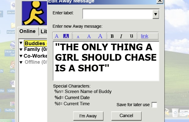 Instant Messaging Away : Shot away messages girls used in college complex