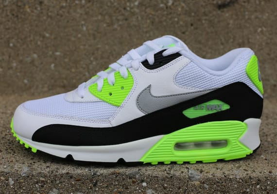 online retailer d6bad 12a0b The Swoosh and the Air Max 90 both stay essential here, letting loose a new  color option of the Max re-up. Flash Lime accents liven up this white, ...