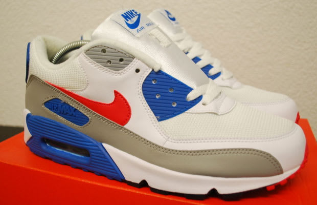 nike air max 90 blue red white horizontal stripe