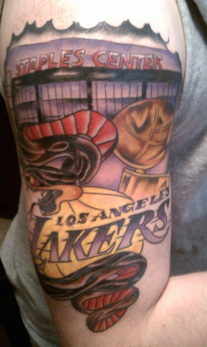Black mamba 15 terrible nba fan tattoo fails complex for La lakers tattoo