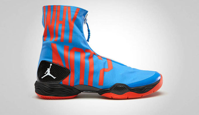competitive price 03e9f 4760d ... on the foot of the Oklahoma City Thunder s Russell Westbrook was this  eye-catching photo blue orange Air Jordan XX8 PE with Westbrook s motto