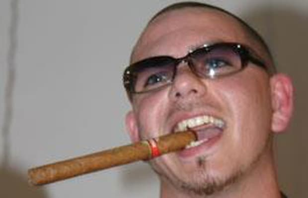 Pitbull smoking a cigarette (or weed)