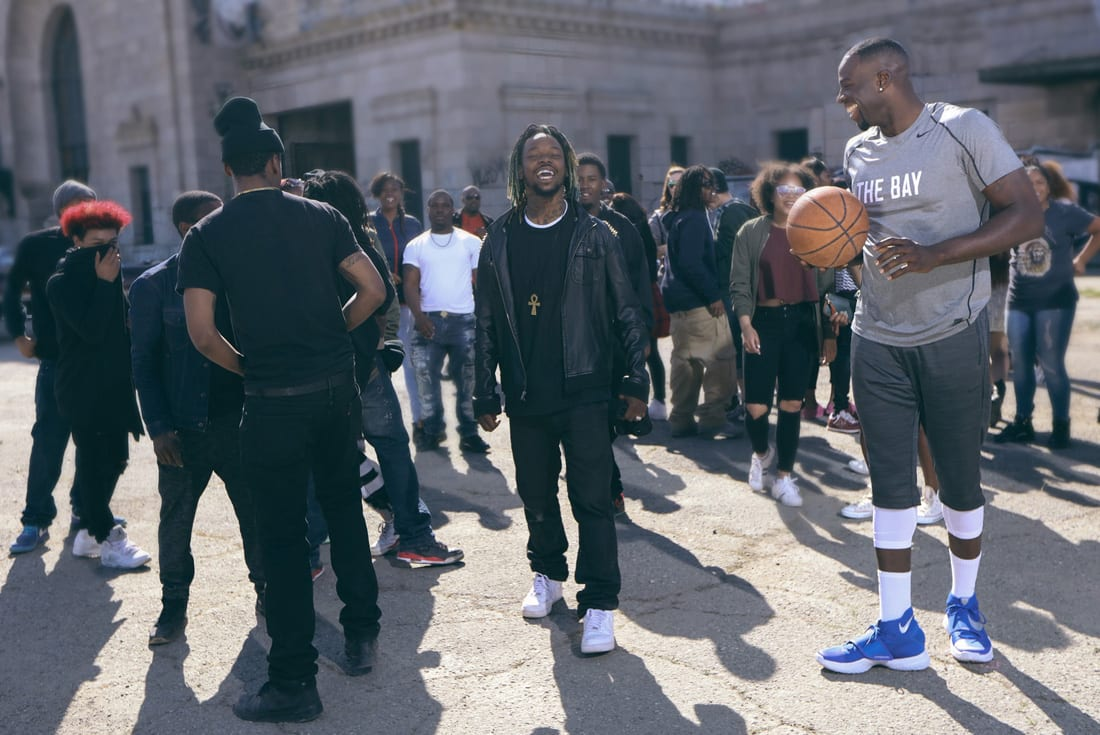 "Draymond Green and Turf Feinz dancers on the set of Beats By Dre's B [READY] f. ""Tell Me When To Go"" commercial shoot."