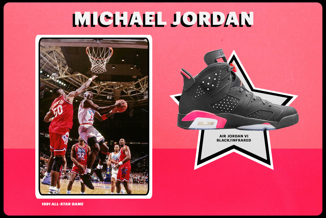 "competitive price e0a6f 11adb 1991  Air Jordan VI ""Black Infrared"". Image via Nathaniel S. ..."
