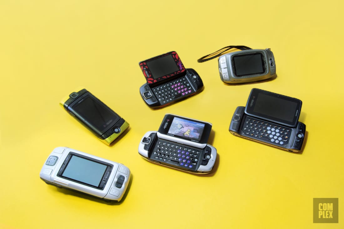 sidekick phone. top row (l-r): sidekick 3g, diane von fürstenberg 3, sidekick; bottom 2, lx phone