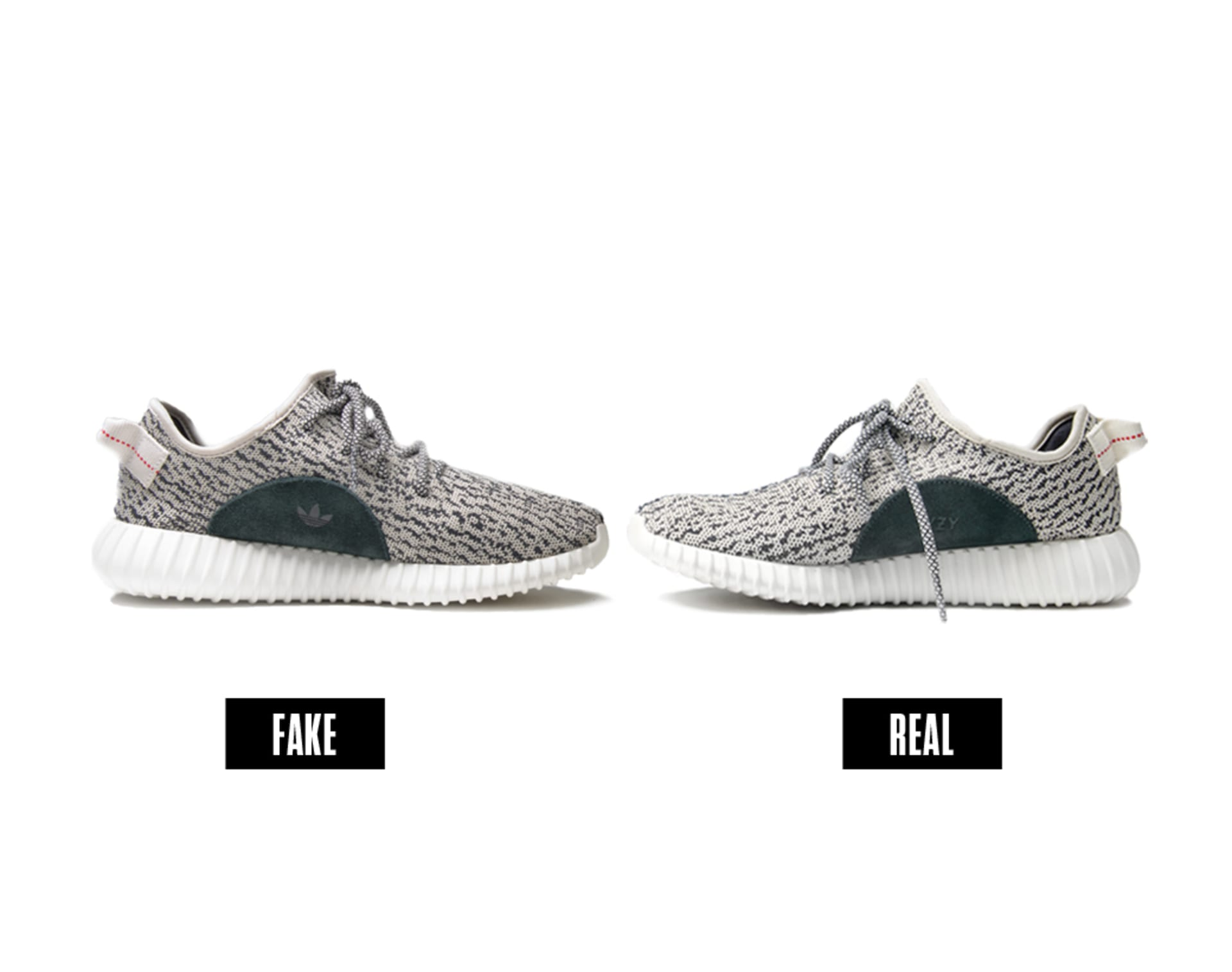 da7a1b6678afa Fake vs. Real Yeezy 350 Boosts. Photo by Liz Barclay.