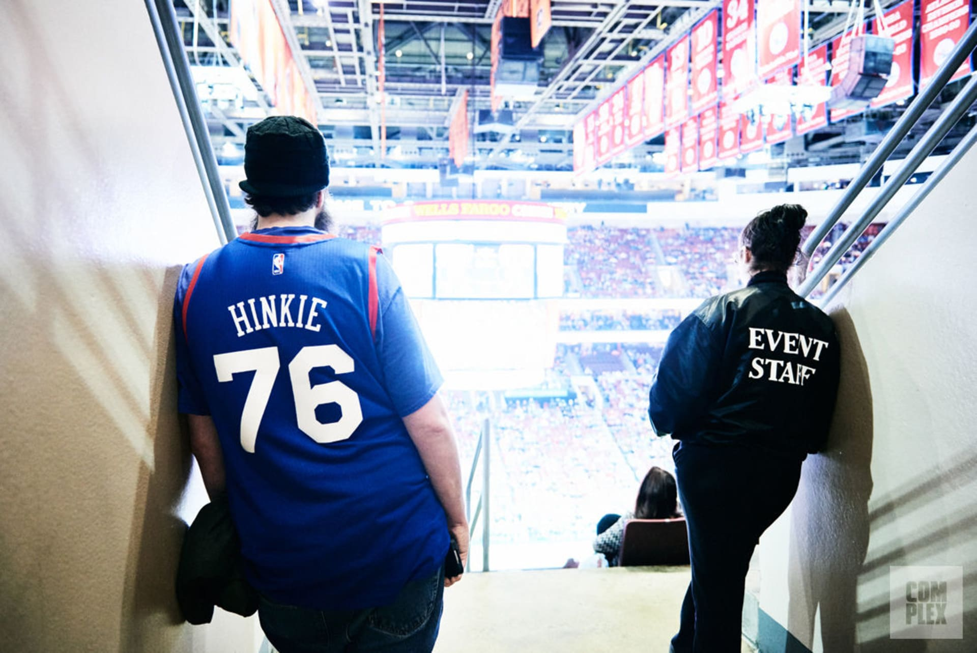 775ccbfdf A process-truster in a customized Sam Hinkie jersey looks out upon the  crowd from section 201.