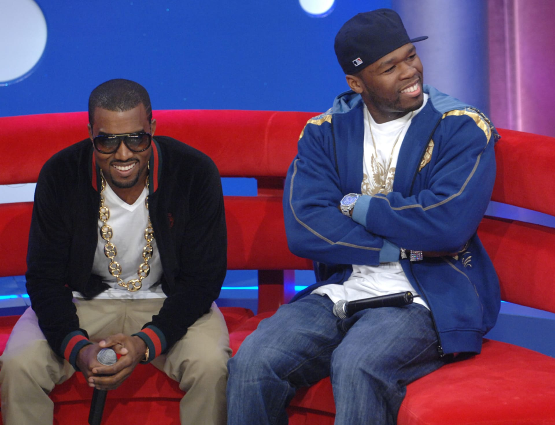 Kanye West And 50 Cent Appear On Bets 106 Park At Bet Studios Sept 11 2007 In New York City D Barket Getty Images