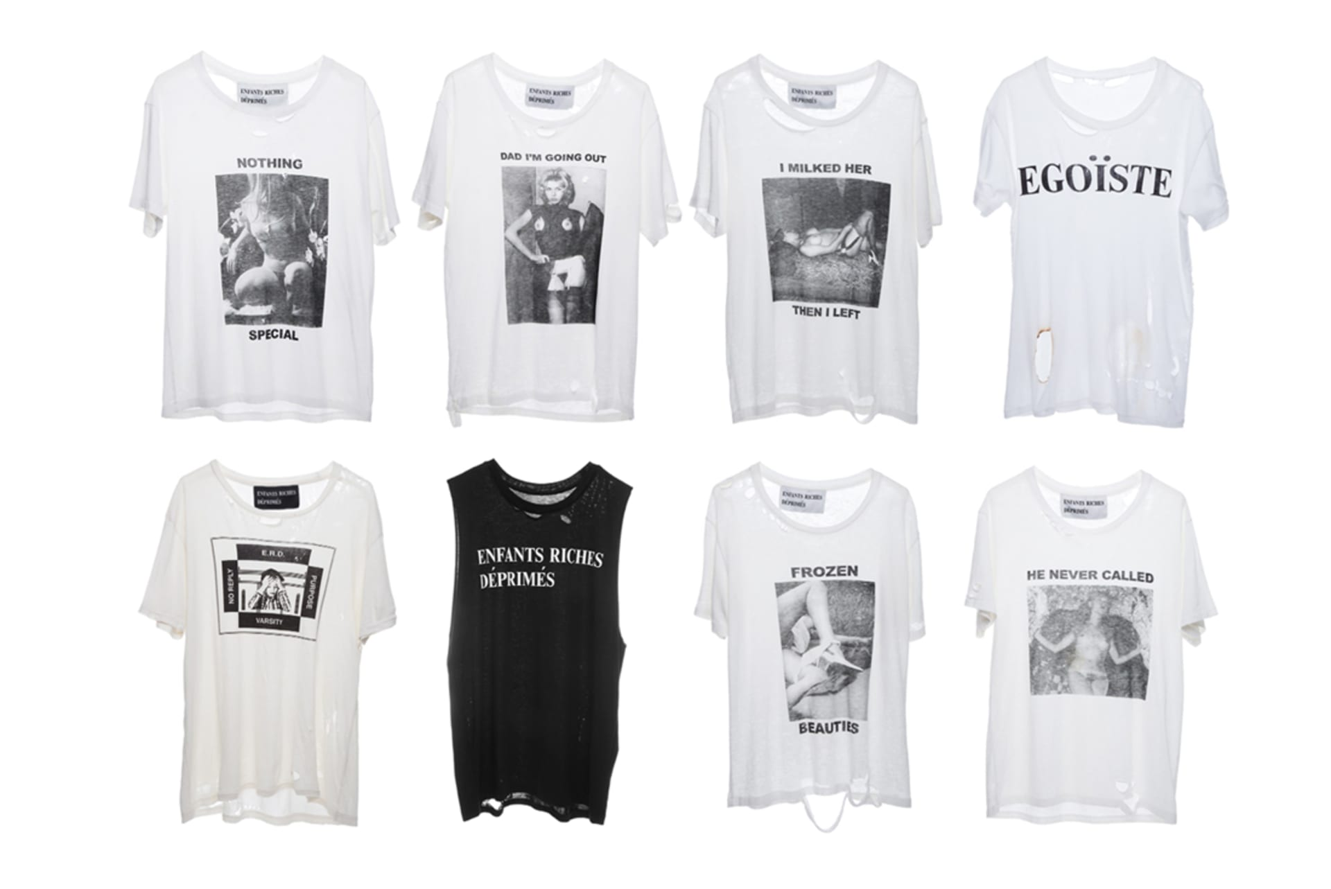 5971cb82f2ab9 Selections of T-shirts from Enfants Riches Déprimés Spring 2016 collection.    Image via Enfants Riches Déprimés