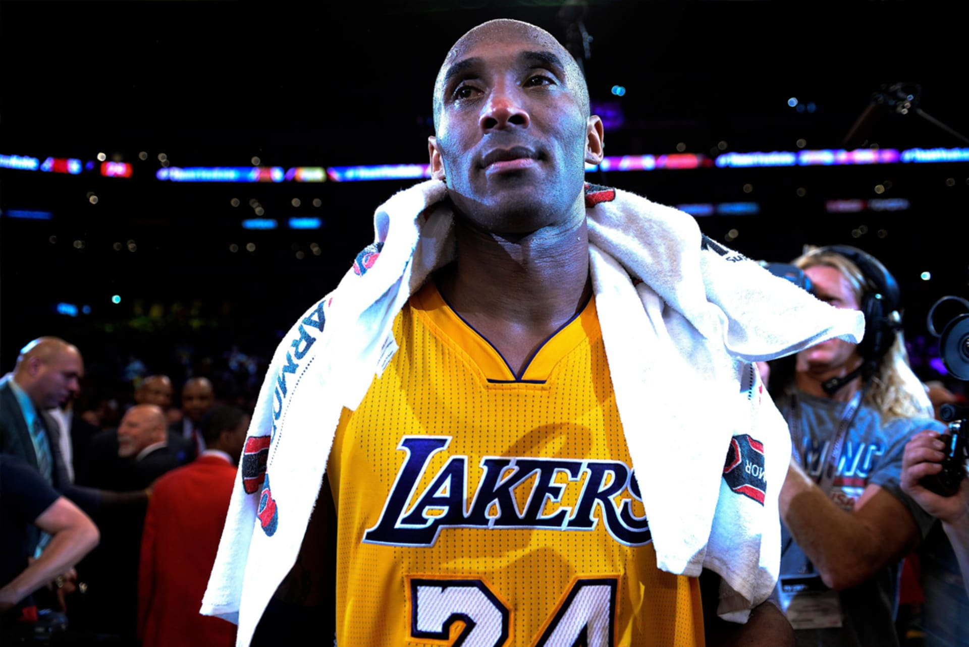 3d04c065d8a Kobe Bryant minutes after scoring 60 points in his last game ever. Image  via Robert Hanashiro-USA TODAY Sports.