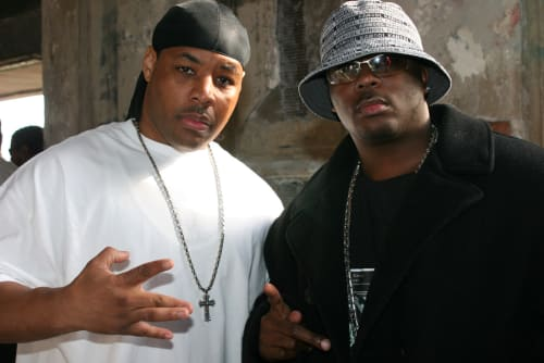 "E-A-Ski and Rick Rock on the set of the 2006 music video shoot for E-40 ""Tell Me When To Go."""
