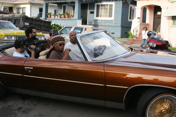 "Sway Calloway and Too $hort filming for MTV's ""My Block: The Bay"" in 2006. Photographed by D-Ray."