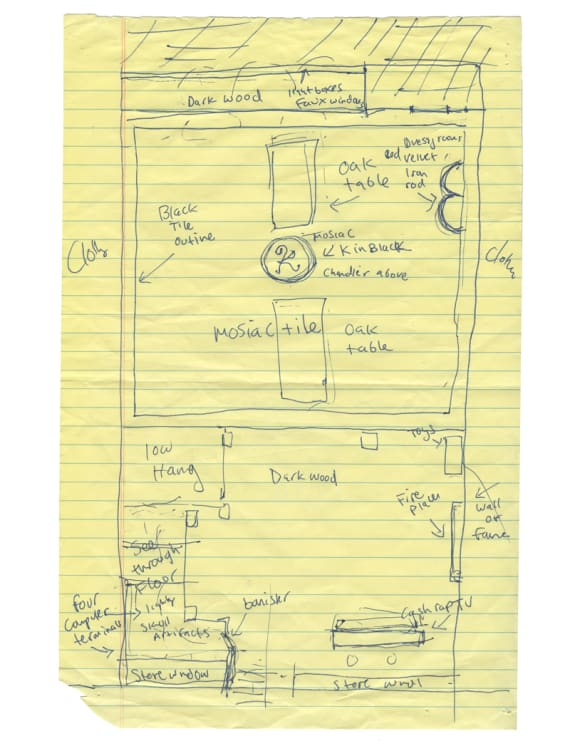 An early sketch of the Karmaloop store in Boston