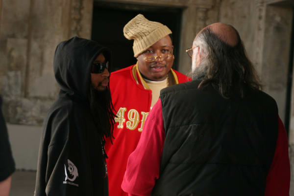 """E-40 and Lil Jon on the set of the 2006 music video shoot for """"Tell Me When To Go"""" in Oakland, Calif. I"""