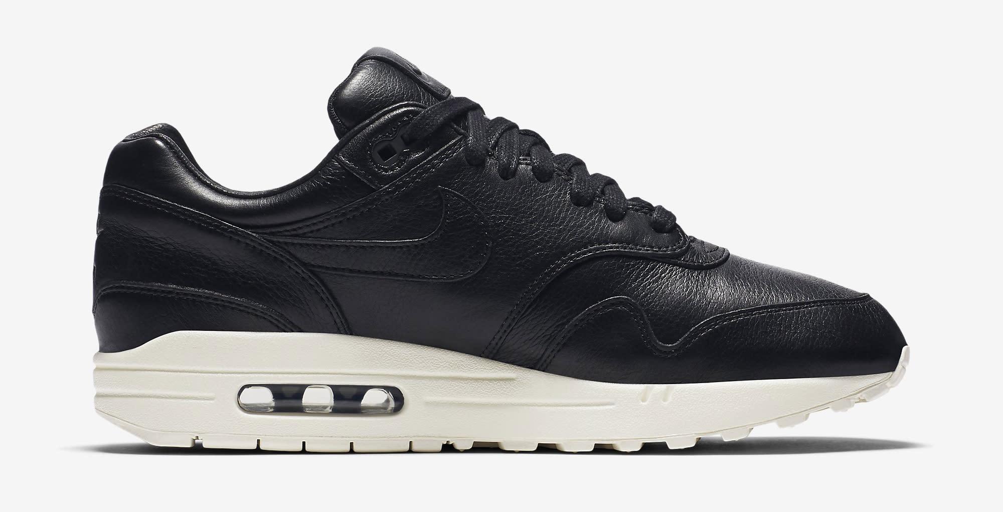 brand new ea6e9 9400b Image via Nike Nike Air Max 1 Pinnacle Leather Black 859554-003 Medial