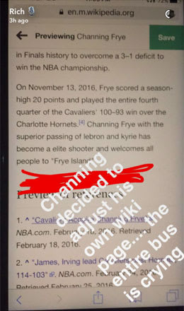 Richard Jefferson Snap-chats Channing Frye editing his own Wikipedia.