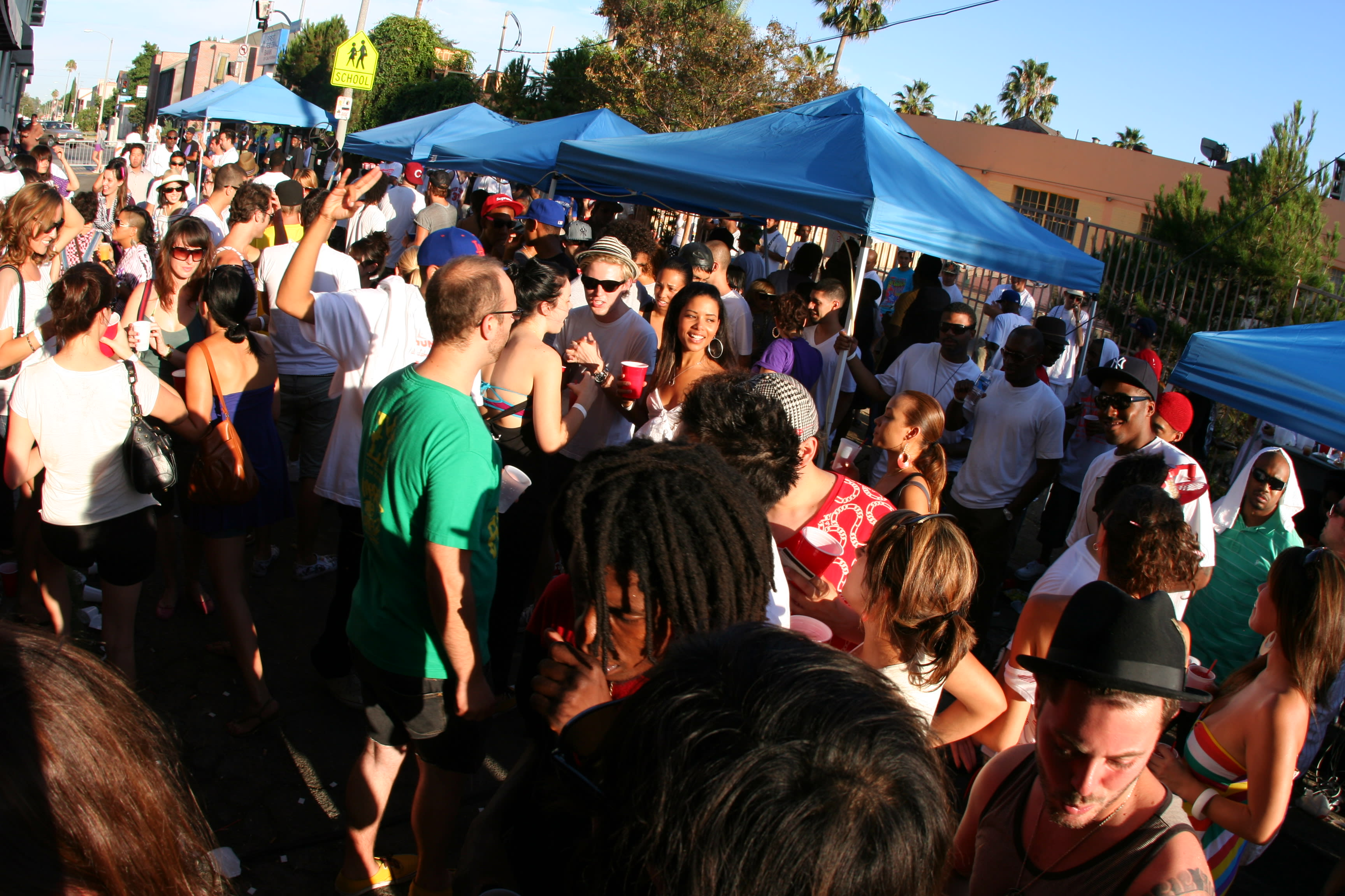 Photo of a block party on Fairfax Avenue in Los Angeles.
