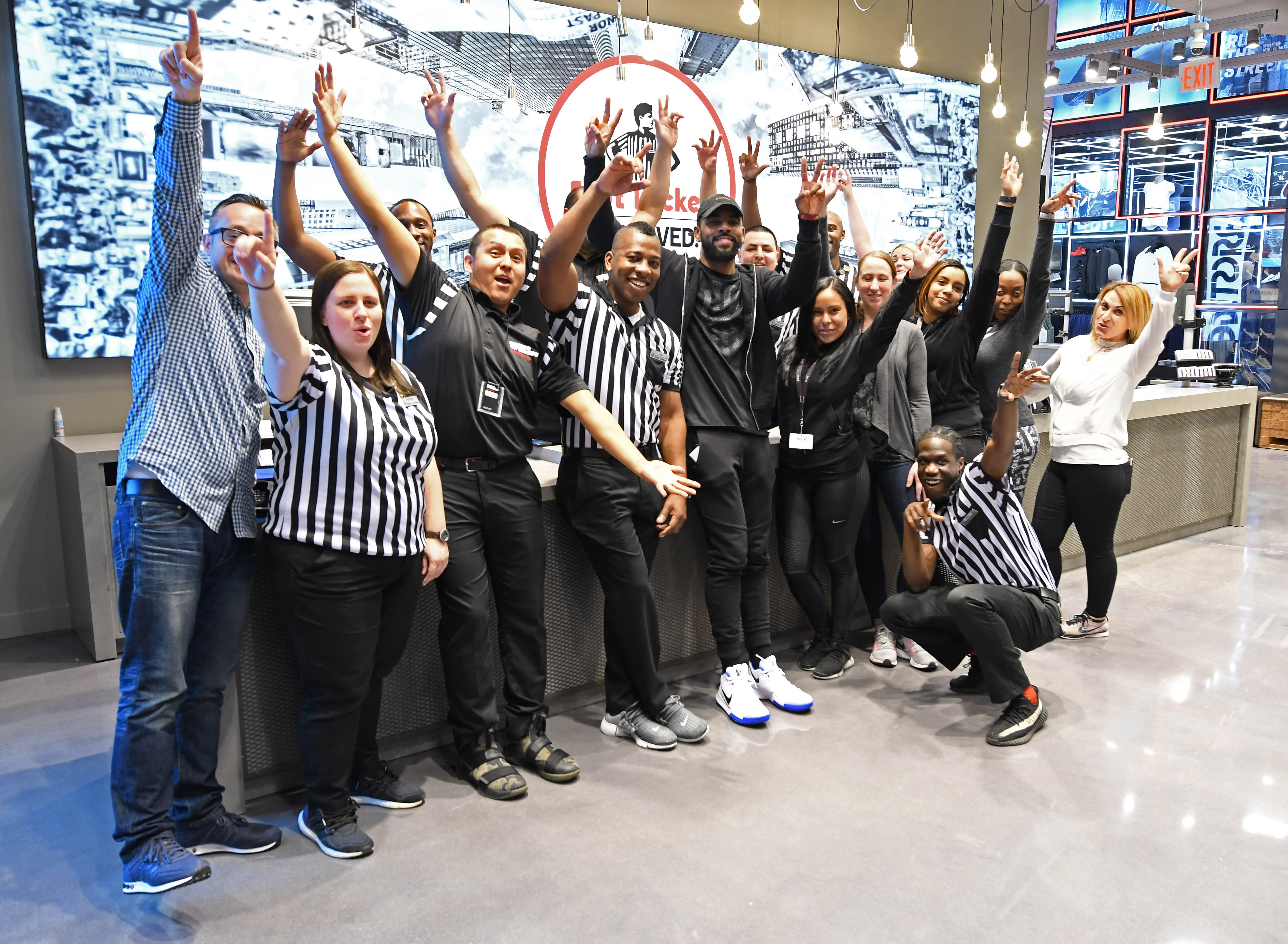 Kyrie Irving visits Times Square Foot Locker