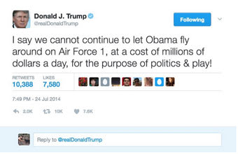 Image result for trump tweets on obama vacation