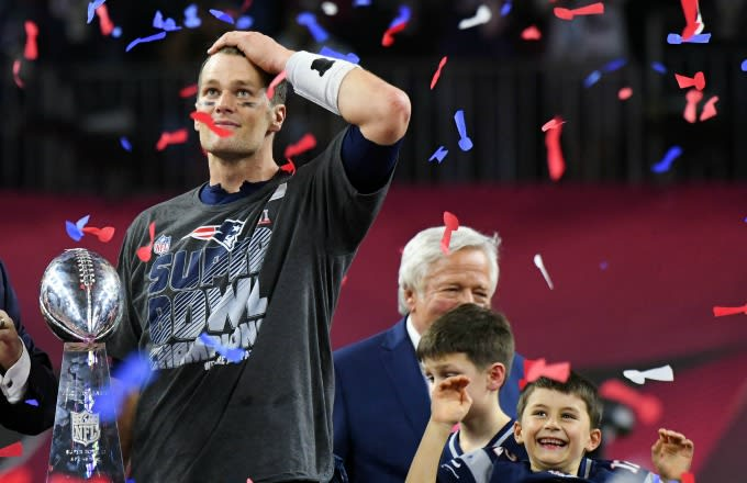 Tom Brady celebrates Super Bowl LI victory.