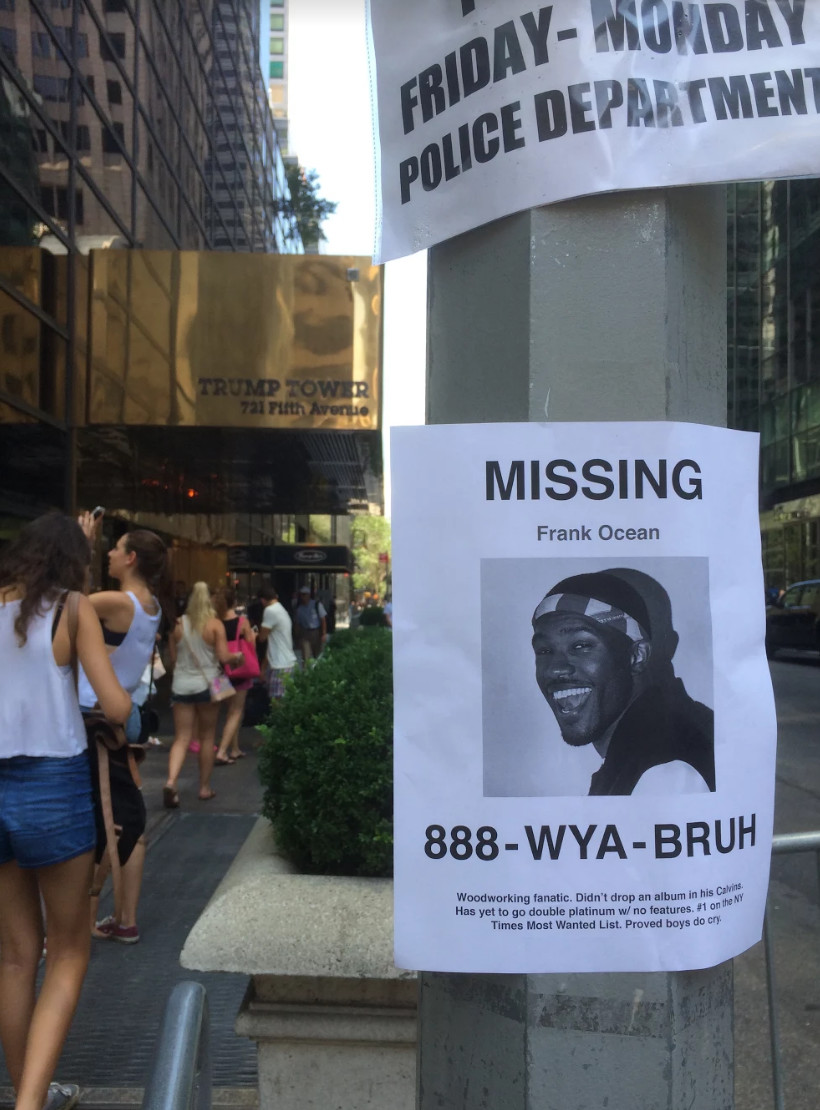 People are putting up Frank Ocean MISSING posters around NYC.