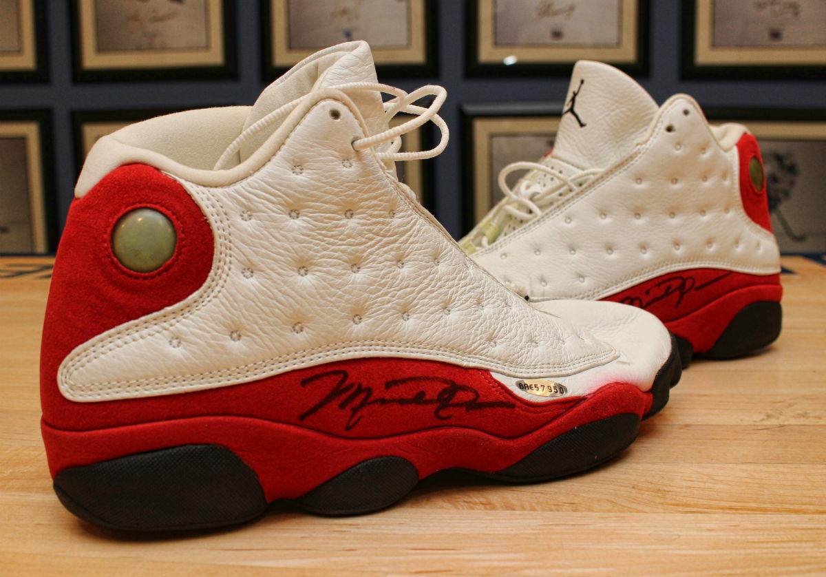 Game-Worn Air Jordan 13 White/Red 1997