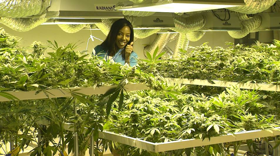 Charlo Greene with plants