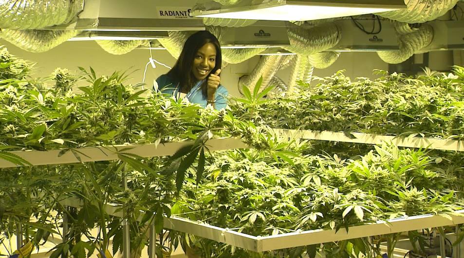 Charlo Greene with plants