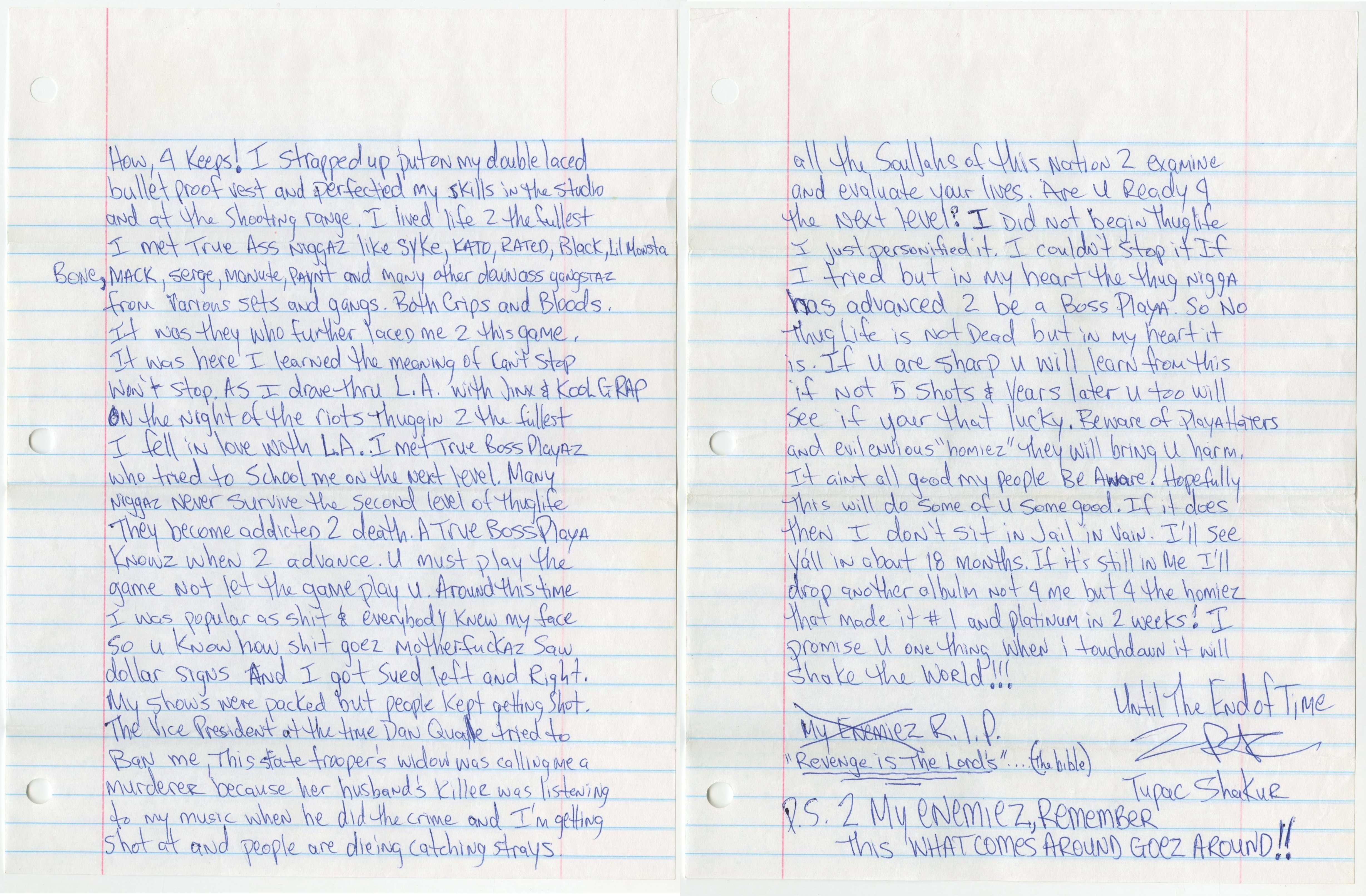 letter to pac lyrics letter tupac shakur wrote from prison sold at auction for 23253 | igosmxdf1frdsuq3jeuv
