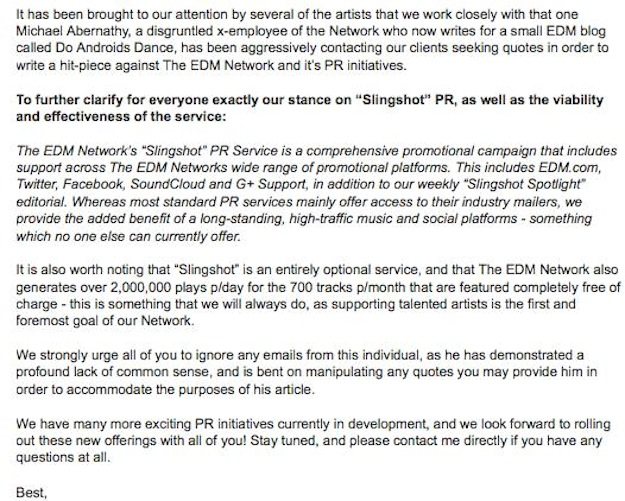 EDM Network Email Decide For Yourself: Does EDM.coms Slingshot Feature Define Payola?