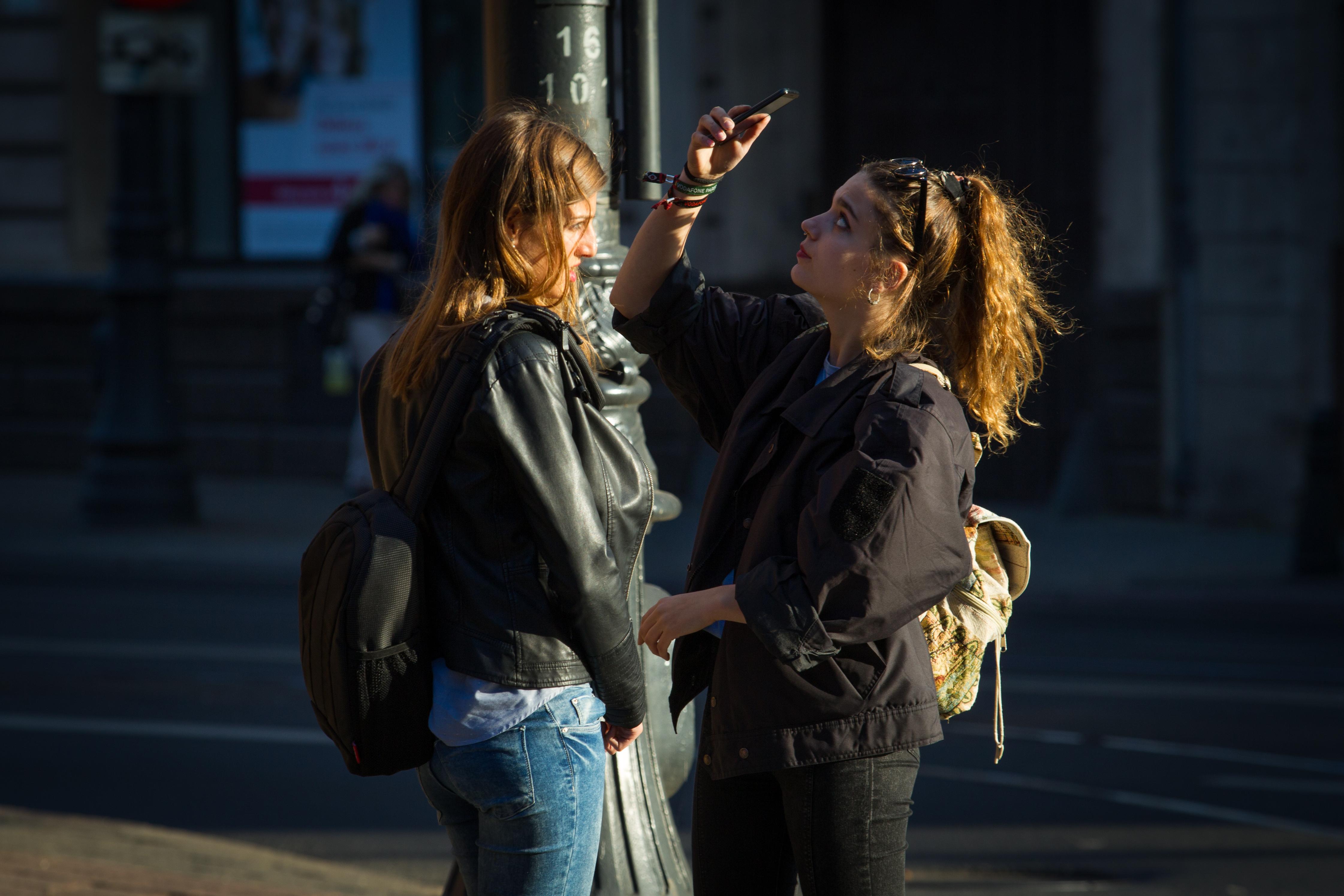 Teen Girls Using Cell Phone