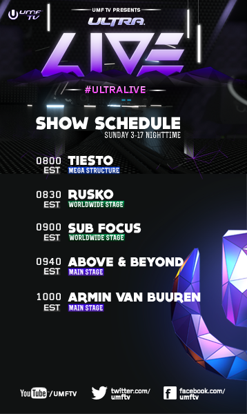 umf day3 schedule 2 Stream the 2013 Ultra Music Festival, Day 3
