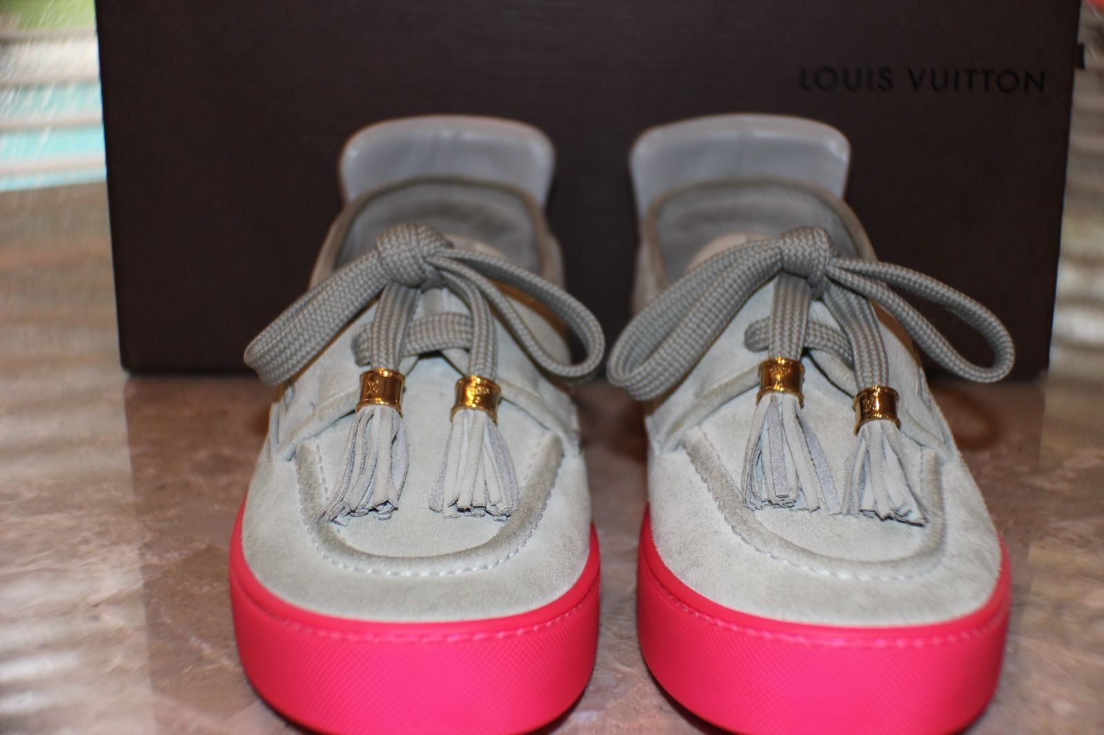 Kids Selling Kanye West Signed Louis Vuitton Hudson Sneakers Front