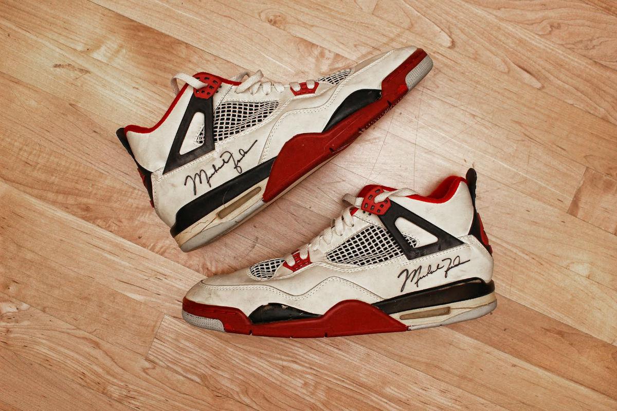 brand new 842be e0d58 Michael Jordan Game-Worn Air Jordan 4 Fire Red from 1989 ...