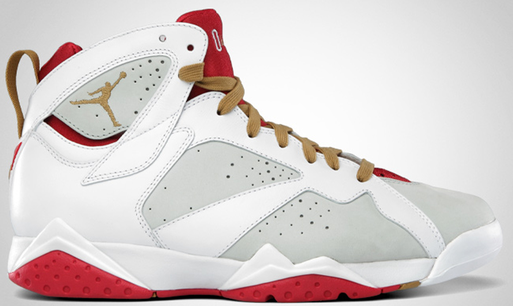 Mens Air Jordan Retro 7 White Silver shoes