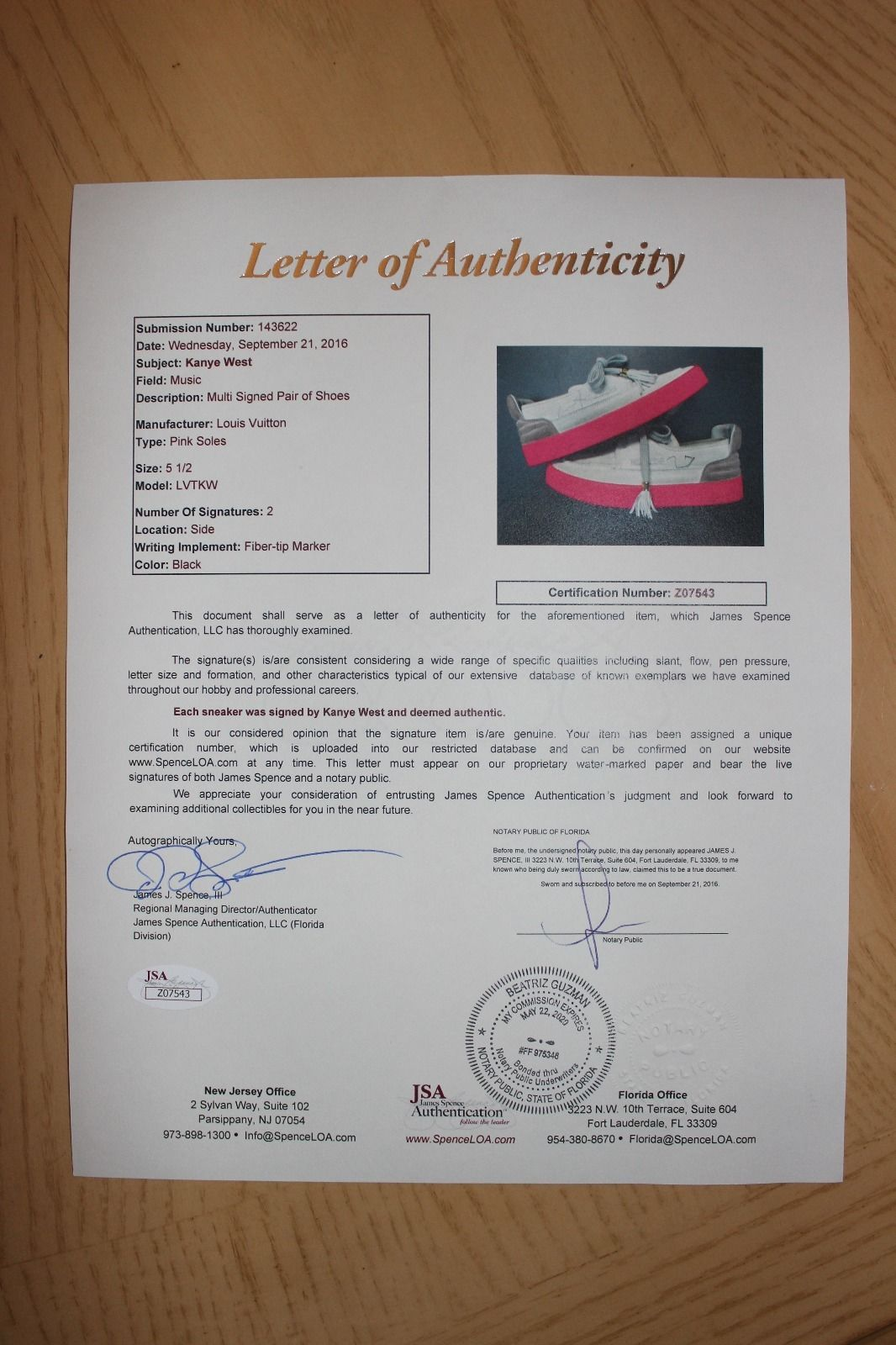 Kids Selling Kanye West Signed Louis Vuitton Hudson Sneakers COA