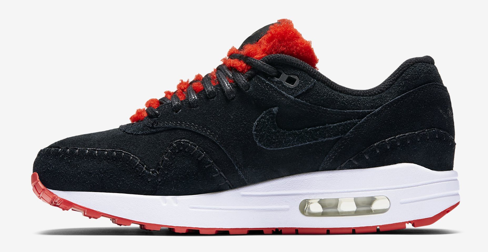 Nike Air Max 1 Sherpa Black Red 454746-010 Medial