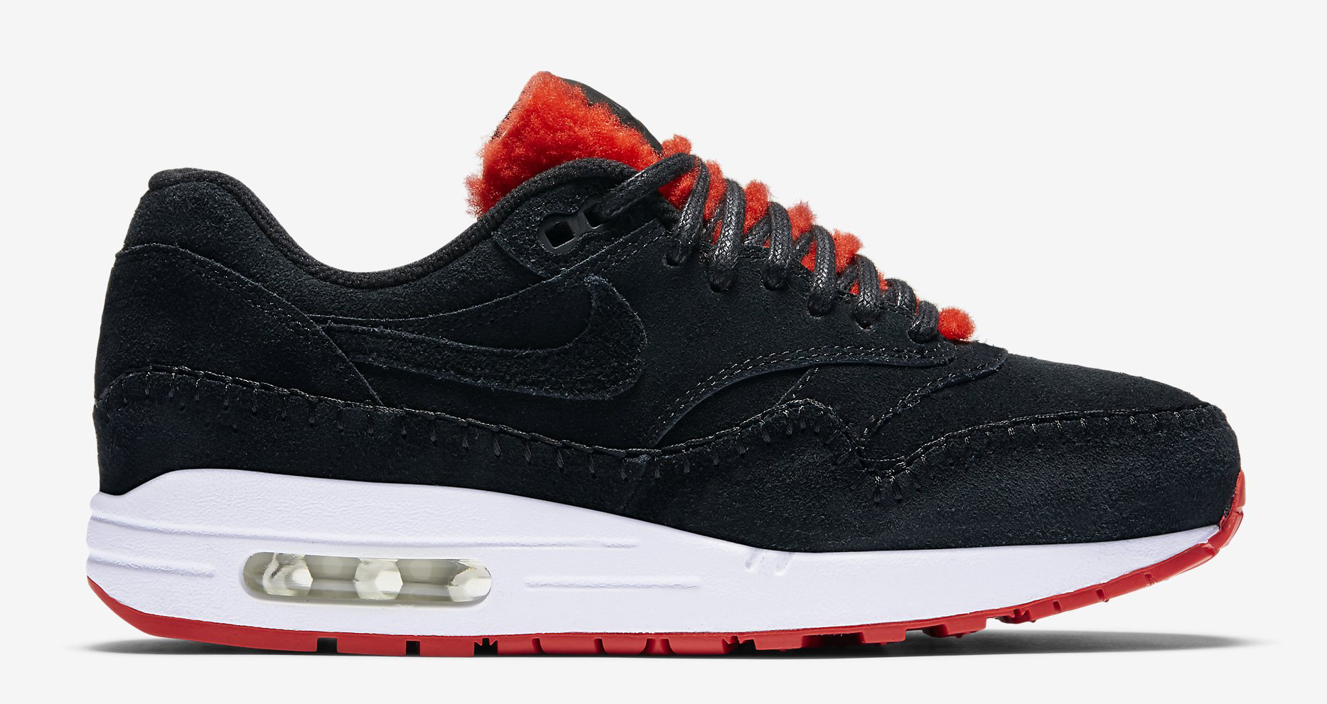 Nike Air Max 1 Sherpa Black Red 454746-010 Profile